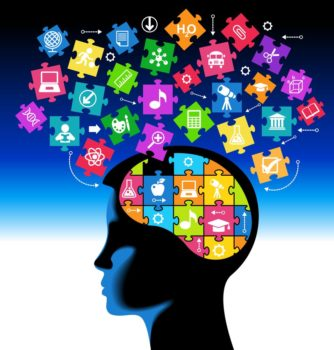 silhouette of a child head with the brain of the puzzles and education icons.. the concept of education of children. the generation of knowledge