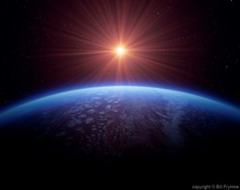 earth horizon from space with sun and starfield copyright Jan, 2004 Bill Frymire
